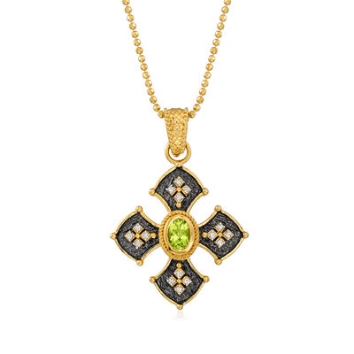 .60 Carat Peridot and .10 ct. t.w. White Zircon  Cross Pendant Necklace in 18kt Gold Over Sterling