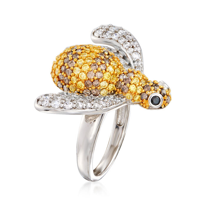 2.75 ct. t.w. Multicolored CZ Bee Ring in Sterling Silver