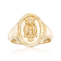 14kt Yellow Gold Owl Signet Ring, , default