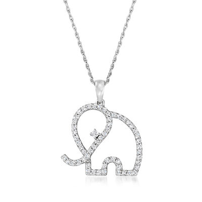 .50 ct. t.w. Diamond Elephant Outline Pendant Necklace in Sterling Silver