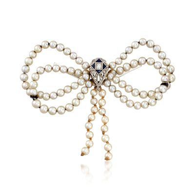 C. 1930 Vintage 3.5-4mm Cultured Pearl Bow Pin with Diamonds and Synthetic Sapphires in 14kt White Gold, , default
