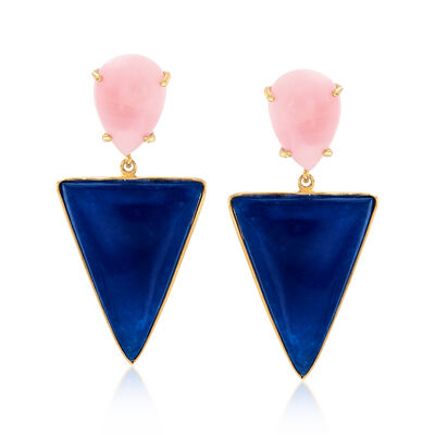 Pink Opal and Blue Jade Earrings in 18kt Gold Over Sterling Silver , , default