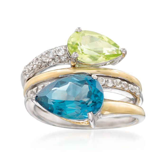3.40 Carat London Blue Topaz 1.50 Carat Peridot Ring With White Topaz in Two-Tone Sterling Silver, , default