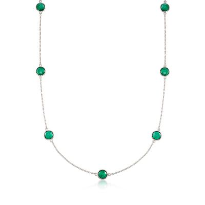 8mm Bezel-Set Green Onyx Station Necklace in Sterling Silver, , default