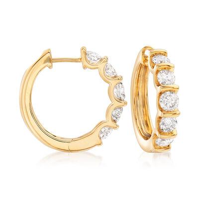 2.00 ct. t.w. Diamond Hoop Earrings in 14kt Yellow Gold, , default