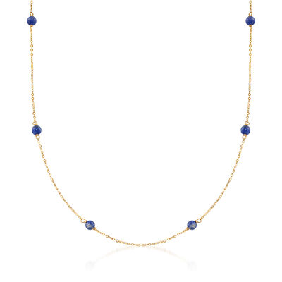 Italian 4mm Lapis Station Necklace in 14kt Yellow Gold, , default