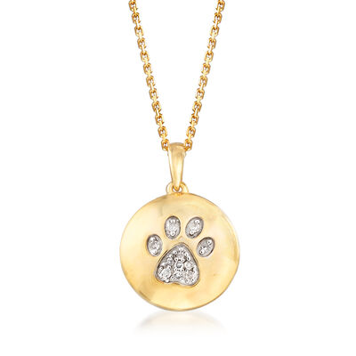 Paw Print Circle Pendant Necklace in 18kt Yellow Gold Over Sterling Silver, , default