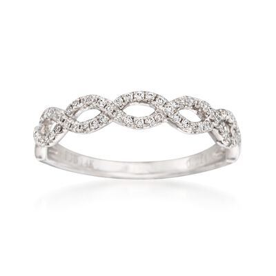 .19 ct. t.w. Diamond Woven Wedding Ring in 14kt White Gold, , default