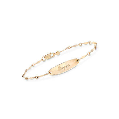 Child's 14kt Yellow Gold Name ID Bracelet with Twisted Links, , default