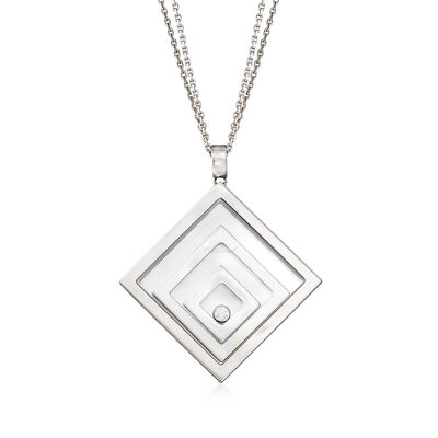 "C. 1990 Vintage Chopard ""Happy Floating Triple Square"" Pendant Necklace in 18kt White Gold, , default"