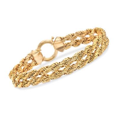 14kt Yellow Gold Double Roped Link Bracelet, , default