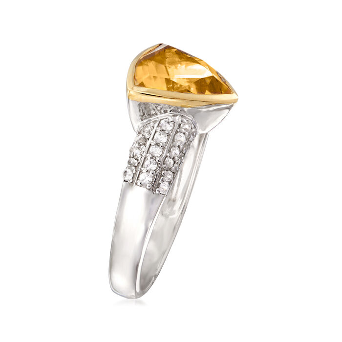 3.80 Carat Citrine and .40 ct. t.w. White Zircon Ring in Sterling Silver with 14kt Yellow Gold