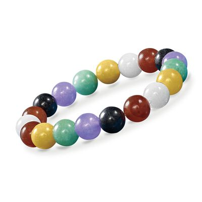 10mm Multicolored Jade and White Quartz Bead Stretch Bracelet, , default