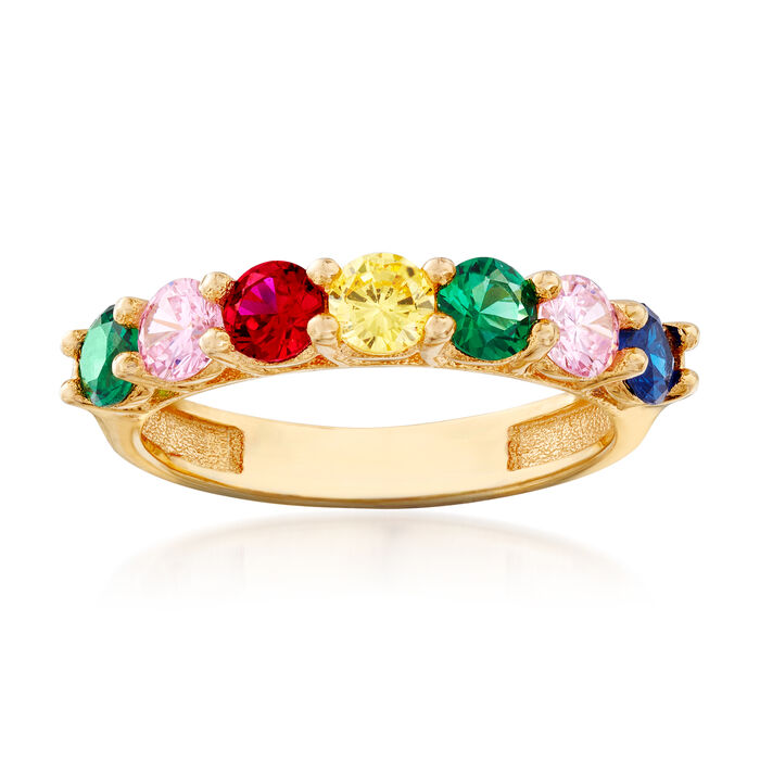 1.60 ct. t.w. Multicolored CZ Ring in 18kt Yellow Gold Over Sterling Silver, , default