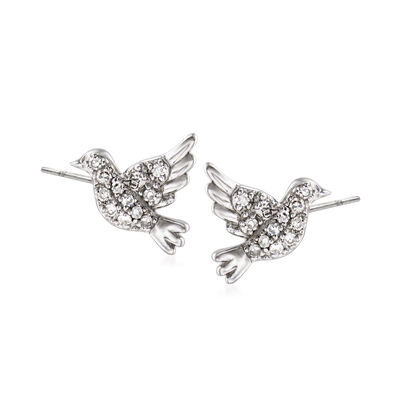 Sterling Silver Dove Earrings with Diamond Accents, , default