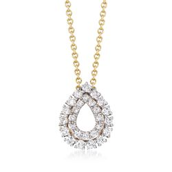 ".25 ct. t.w. Diamond Open Double Frame Teardrop Necklace in 14kt Yellow Gold. 18"", , default"