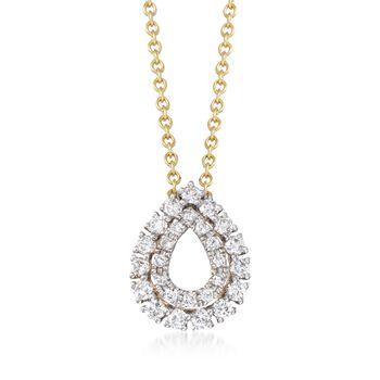 ".25 ct. t.w. Diamond Open Double Frame Teardrop Necklace in 14kt Yellow Gold. 18"", , default"