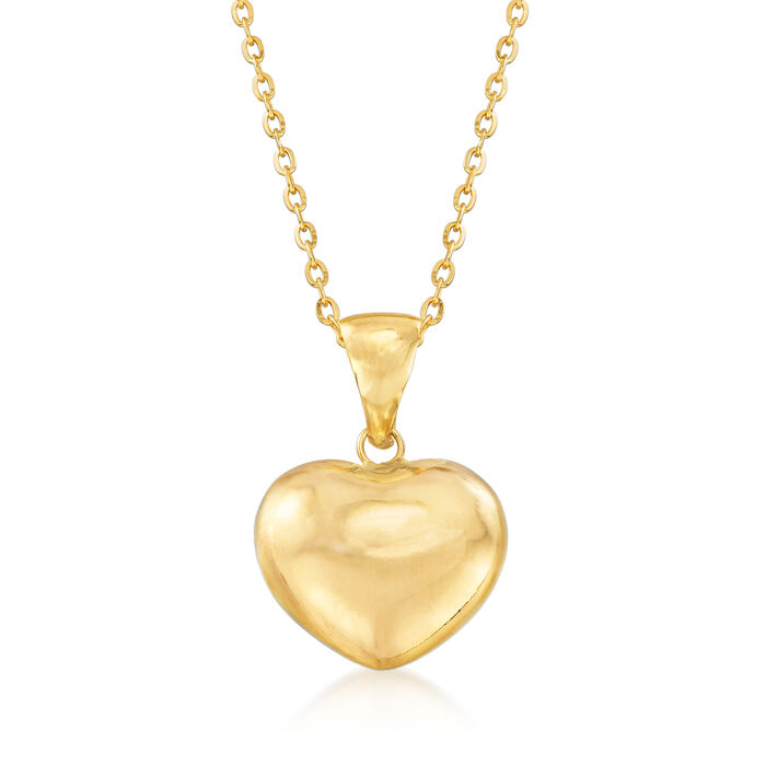 Italian 18kt Yellow Gold Heart Pendant Necklace