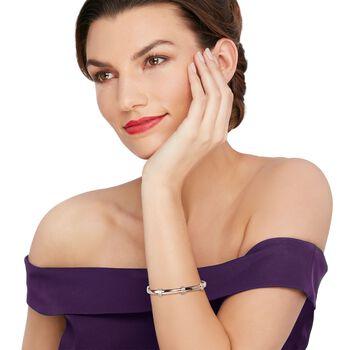 "14kt Rose Gold Over Sterling Silver Bangle Bracelet with Diamond Accents. 7"", , default"