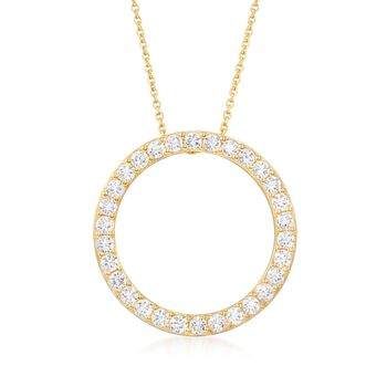 "2.25 ct. t.w. CZ Open Circle of Eternity Pendant Necklace in 14kt Gold Over Sterling. 18"", , default"