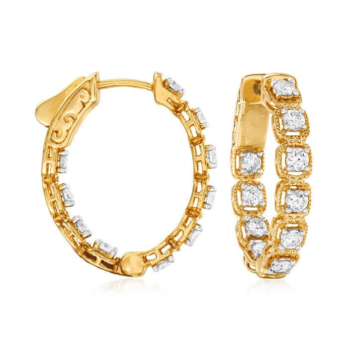 1.33 ct. t.w. Diamond Inside-Outside Hoop Earrings in 14kt Yellow Gold