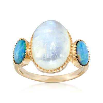 Blue Opal Doublet and Moonstone Ring in 14kt Yellow Gold, , default