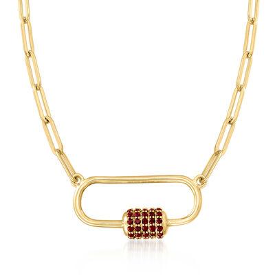 3.70 ct. t.w. Garnet Carabiner-Link Paper Clip Link Necklace in 18kt Gold Over Sterling