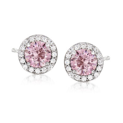 2.50 ct. t.w. Swarovski Morganite CZ and .54 ct. t.w. Swarovski CZ Stud Earrings in Sterling Silver