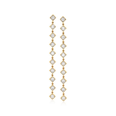 2.00 ct. t.w. Diamond Linear Drop Earrings in 14kt Yellow Gold
