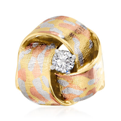 C. 1985 Vintage .15 Carat Diamond Knot Ring in 18kt Tri-Colored Gold