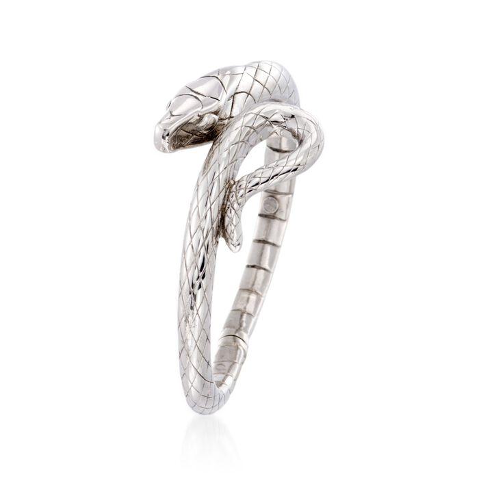 Italian Sterling Silver Snake Bypass Bangle Bracelet