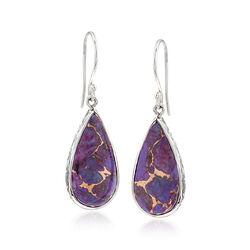 Teardrop Purple Turquoise Earrings in Sterling Silver, , default