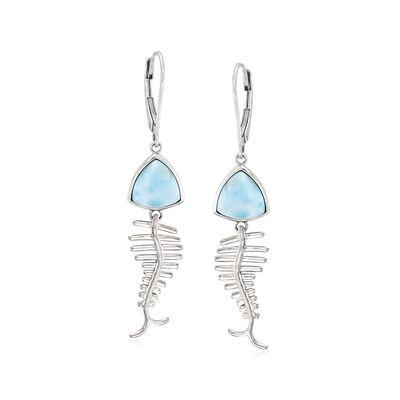 Larimar Fish Bone Drop Earrings in Sterling Silver
