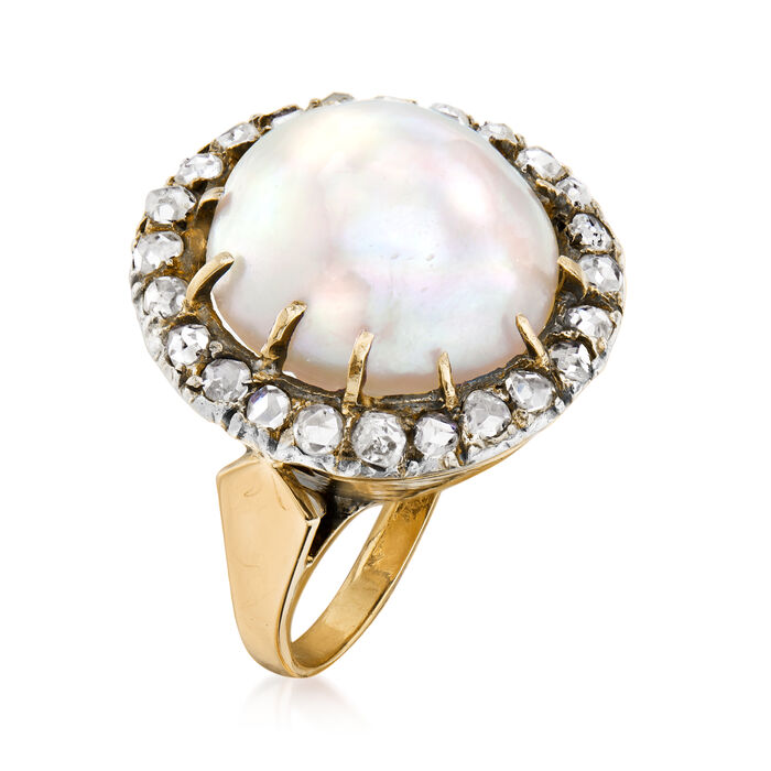 C. 1930 Vintage Cultured Mabe Pearl and .75 ct. t.w. Diamond Cocktail Ring in 18kt Yellow Gold