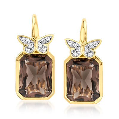 6.50 ct. t.w. Smoky Quartz Drop Earrings with .10 ct. t.w. White Topaz Butterflies in 18kt Gold Over Sterling