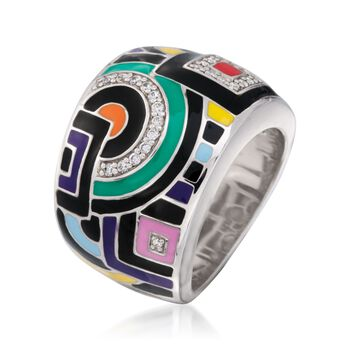 "Belle Etoile ""Geometric"" Multicolored Enamel and .15 ct. t.w. CZ Ring in Sterling Silver. Size 7, , default"