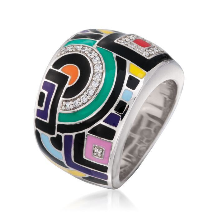 """Belle Etoile """"Geometric"""" Multicolored Enamel and .15 ct. t.w. CZ Ring in Sterling Silver"""