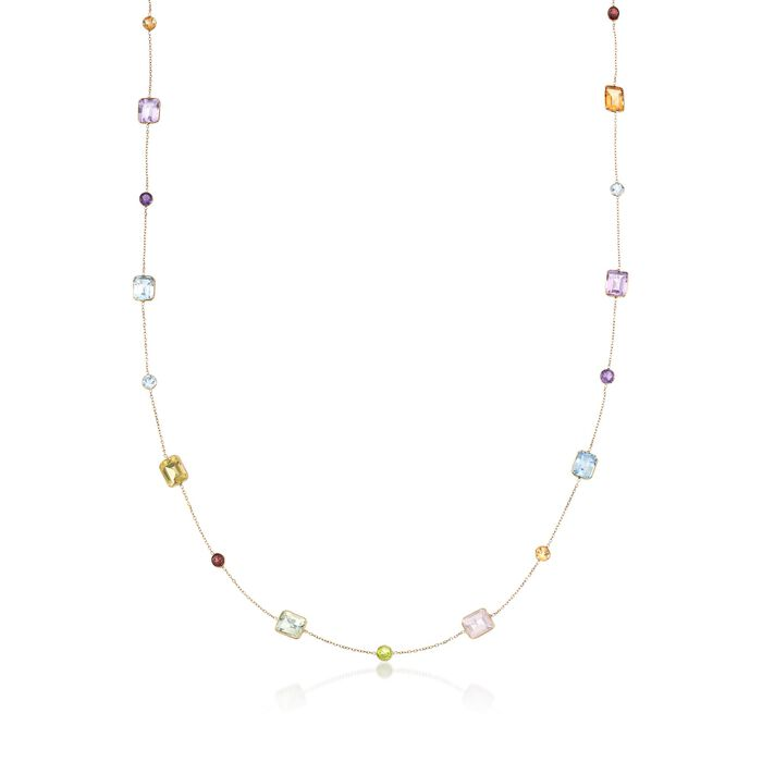 27.65 ct. t.w. Multi-Stone Station Necklace in 14kt Yellow Gold, , default