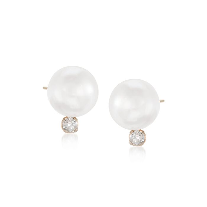 7-7.5mm Cultured Akoya Pearl and .10 ct. t.w. Diamond Accent Earrings in 14kt Yellow Gold, , default