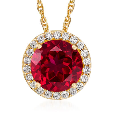 3.40 Carat Simulated Ruby and .33 ct. t.w. CZ Necklace in 18kt Gold Over Sterling, , default