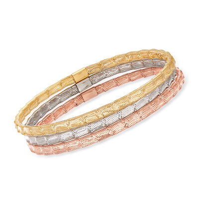 Italian 14kt Tri-Colored Gold and Silicone Jewelry Set: Three Mesh Bracelets, , default