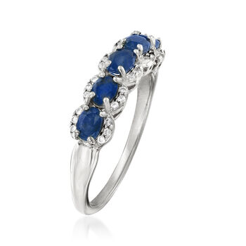 1.20 ct. t.w. Sapphire and .10 ct. t.w. White Zircon Ring in Sterling Silver, , default