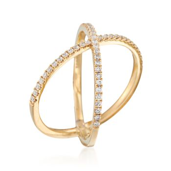 Henri Daussi .28 ct. t.w. Diamond Crisscross Ring in 14kt Yellow Gold. Size 6, , default