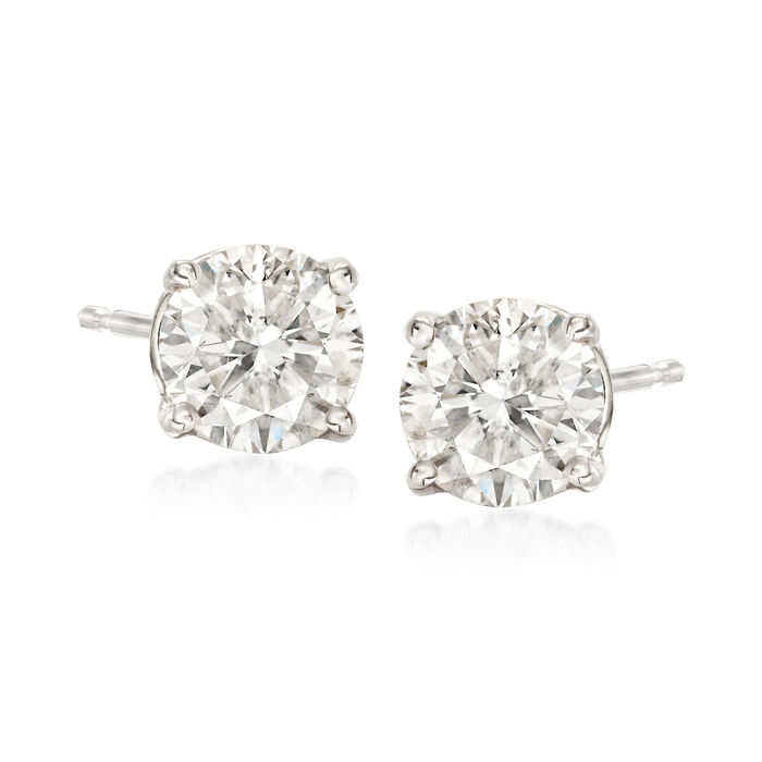 1.50 ct. t.w. Diamond Stud Earrings in 18kt White Gold, , default