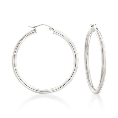 3mm Sterling Silver Hoop Earrings, , default