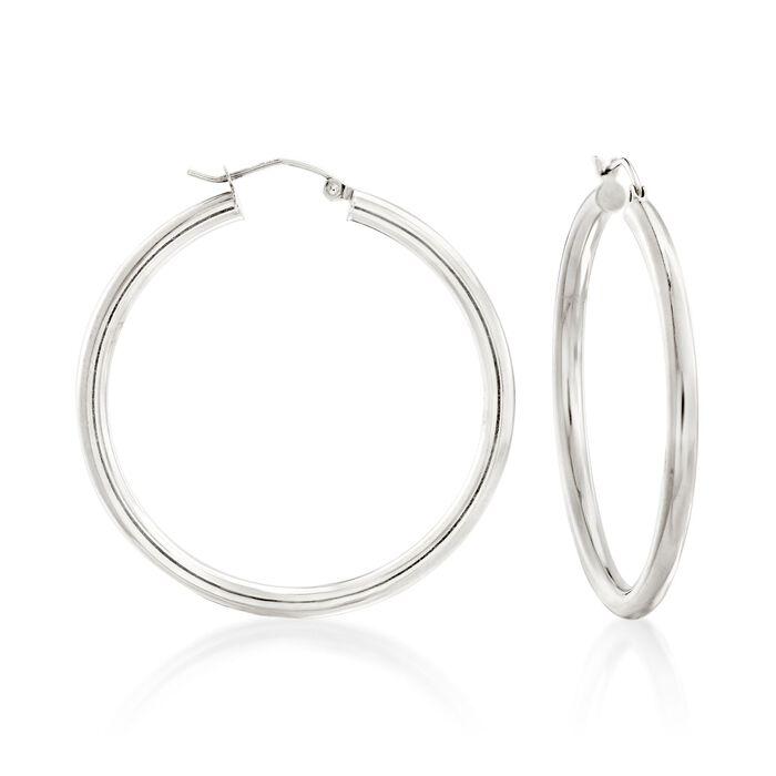 """3mm Sterling Silver Hoop Earrings. 1 5/8"""", , default"""