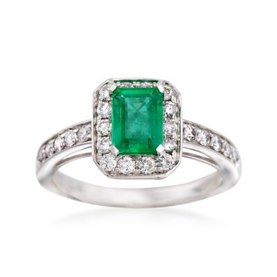 1.00 Carat Emerald and .50 ct. t.w. Diamond Ring in 14kt White Gold, , default