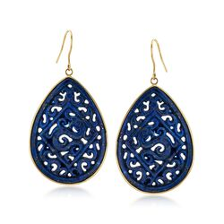 Carved Lapis Scrolled Teardrop Earrings in 14kt Yellow Gold, , default