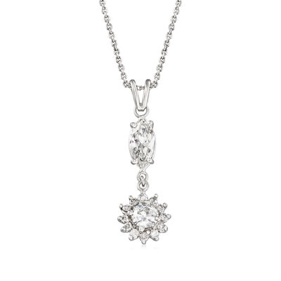 C. 1990 Vintage 1.90 ct. t.w. Diamond Pendant Necklace in 14kt White Gold