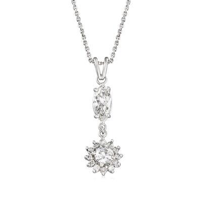 C. 1990 Vintage 1.90 ct. t.w. Diamond Pendant Necklace in 14kt White Gold, , default
